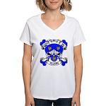 Ashby Family Crest Skull Women's V-Neck T-Shirt
