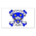 Ashby Family Crest Skull Sticker (Rectangle)
