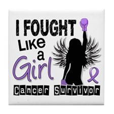 Fought Like A Girl Hodgkin's Lymphoma Tile Coaster