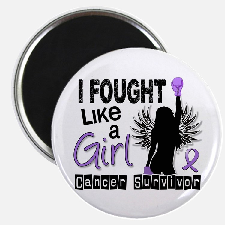 "Fought Like A Girl Hodgkin's Lymphoma 2.25"" Magnet"
