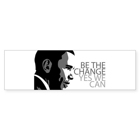 Obama - Change - Yes We Can - Grey Sticker (Bumper