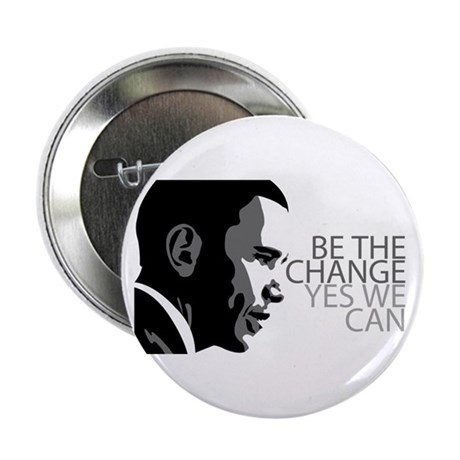 """Obama - Change - Yes We Can - Grey 2.25"""" Button"""