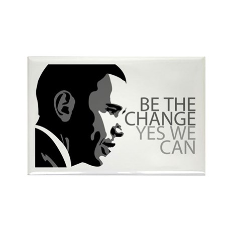 Obama - Change - Yes We Can - Grey Rectangle Magne