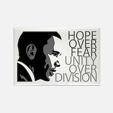 Obama - Hope Over Fear - Grey Rectangle Magnet