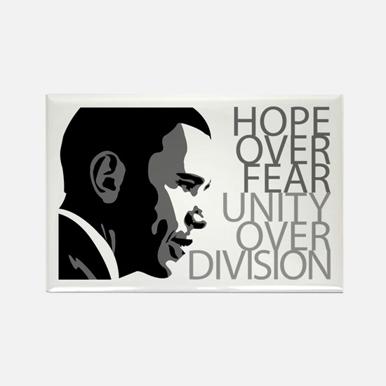 Obama - Hope Over Fear - Grey Rectangle Magnet