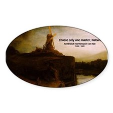 Rembrandt Painting & Quote Oval Decal