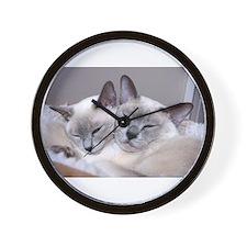Funny Siamese cat Wall Clock