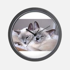 Cute Siamese cat Wall Clock