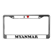 I Love Myanmar License Plate Frame