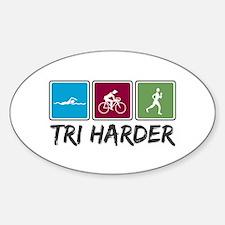 Tri Harder (Thiathlon) Sticker (Oval)