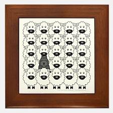 Bouvier and Sheep Framed Tile