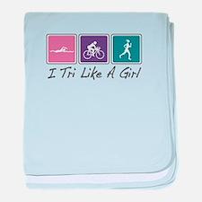 Tri Like A Girl (Triathlete) baby blanket