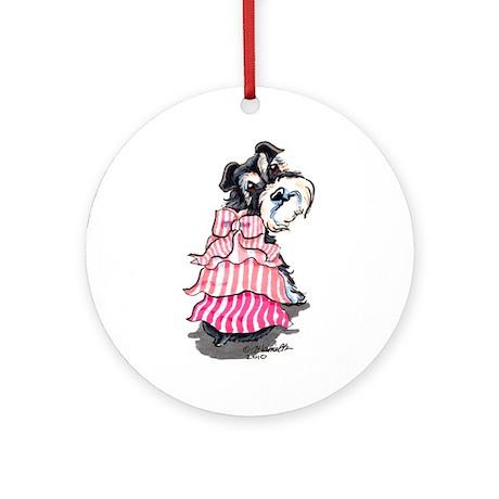 Girly Schnauzer Ornament (Round)