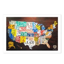 United States License Plate Map Postcards (8)