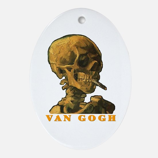 Van Gogh Skull Ornament (Oval)