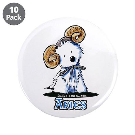 "Aries Westie 3.5"" Button (10 pack)"