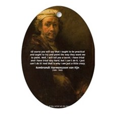 Renbrandt Self Portrait & Quote Oval Ornament