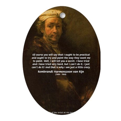Renbrandt Self Portrait & Quote Oval Ornament