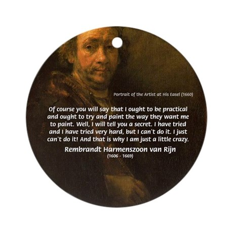 Renbrandt Self Portrait & Quote Ornament (Round)
