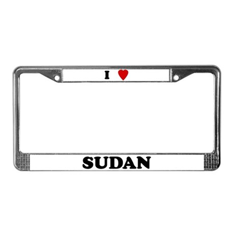 I Love Sudan License Plate Frame