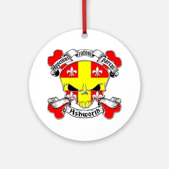 Ashworth Family Crest Skull Ornament (Round)