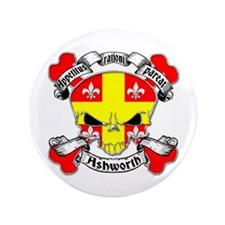 "Ashworth Family Crest Skull 3.5"" Button"