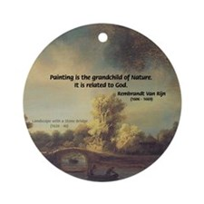 Rembrandt: on God & Painting Ornament (Round)