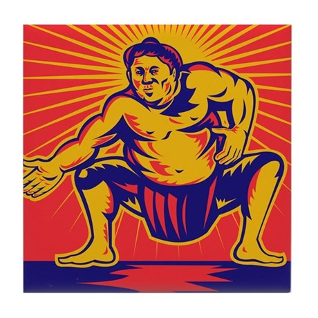 Sumo wrestler retro Tile Coaster