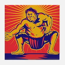 Sumo wrestler retro Tile Coaster