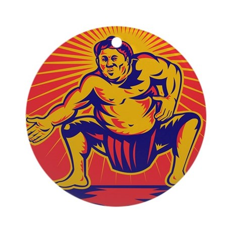 Sumo wrestler retro Ornament (Round)