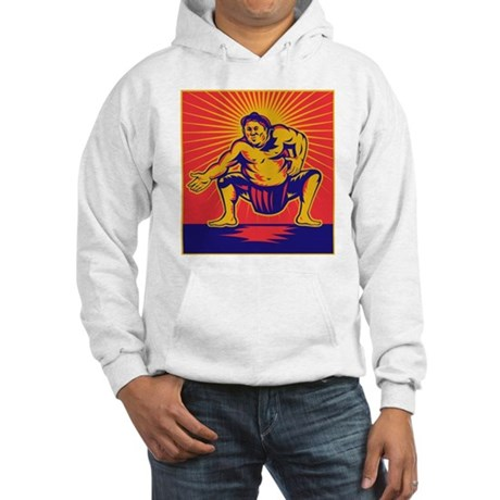 Sumo wrestler retro Hooded Sweatshirt