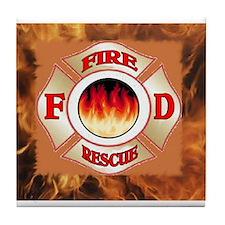 Cute Emt firefighter Tile Coaster