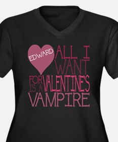 Edward Valentine Women's Plus Size V-Neck Dark T-S