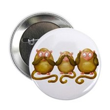 "Three wise monkeys no hear see speak 2.25"" Button"