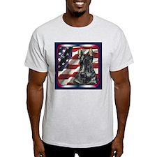 Scottish Terrier Scotty US Flag Ash Grey T-Shirt