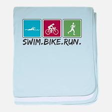 Swim Bike Run baby blanket