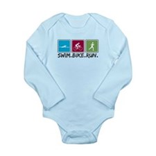 Swim Bike Run Long Sleeve Infant Bodysuit