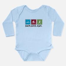 Swim Bike Run Long Sleeve Infant Bodysuit