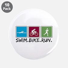 "Swim Bike Run 3.5"" Button (10 pack)"