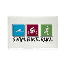Swim Bike Run Rectangle Magnet (100 pack)