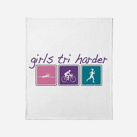 Girls Tri Harder Throw Blanket