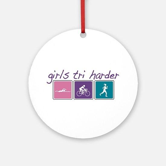 Girls Tri Harder Ornament (Round)