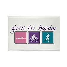 Girls Tri Harder Rectangle Magnet (10 pack)