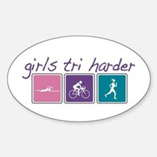 Girls Tri Harder Sticker (Oval)