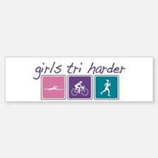Girls Tri Harder Bumper Bumper Sticker