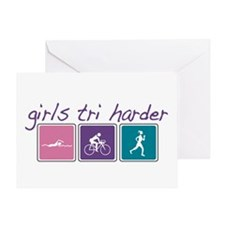 Girls Tri Harder Greeting Card