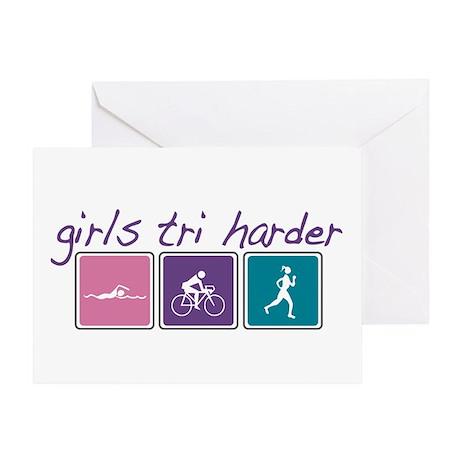 Girls Tri Harder Greeting Card