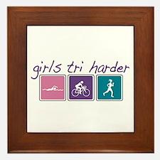 Girls Tri Harder Framed Tile
