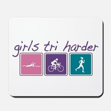 Girls Tri Harder Mousepad