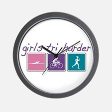 Girls Tri Harder Wall Clock